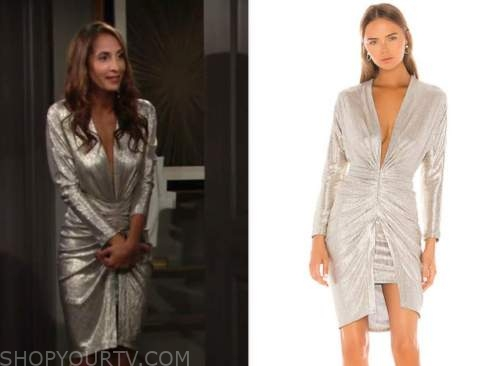 christel khalil, metallic gold drape dress, lily winters, the young and the restless,