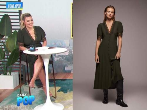 carissa culiner, E! news, daily pop, green lace trim midi dress