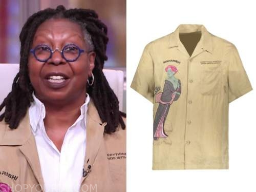 whoopi goldberg, embroidered khaki jacket, the view