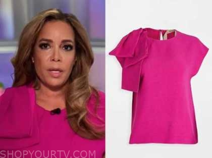 sunny hostin, the view, hot pink bow shoulder top