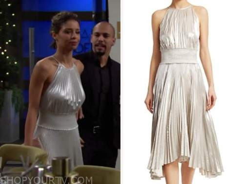 elena dawson, brytni sarpy, the young and the restless, metallic pleated halter dress