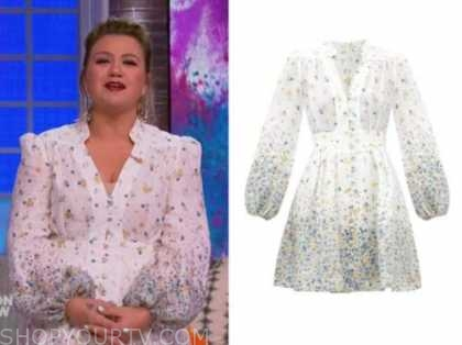 kelly clarkson, the kelly clarkson show, white and blue floral dress