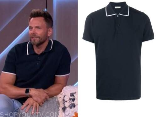 joel mchale, the kelly clarkson show, navy and white contrast trim polo shirt