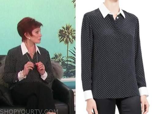 sharon osbourne, polka dot contrast collar shirt, the talk