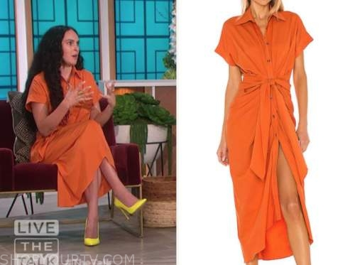 rumer willis, orange shirt dress, the talk