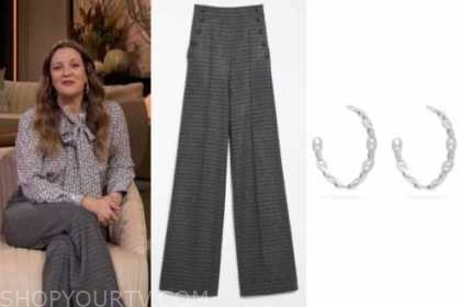 drew barrymore, grey plaid pants, silver hoop earrings, drew barrymore show