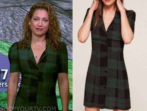 ginger zee, good morning america, green and black check dress