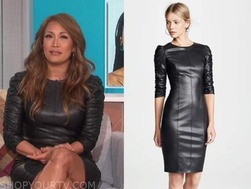 carrie ann inaba, black leather dress, the talk