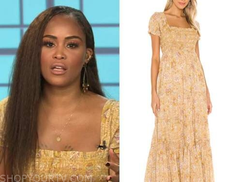 eve, the talk, yellow floral maxi dress