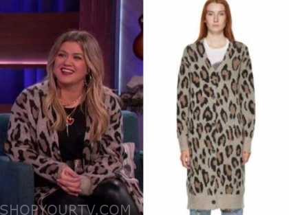 kelly clarkson, the kelly clarkson show, leopard long cardigan sweater