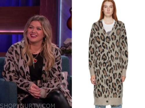 kelly clarkson, the kelly clarkson show, leopard long cardigan sweater