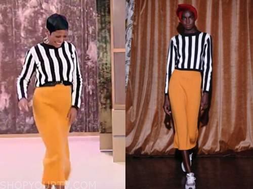 tamron hall, tamron hall show, orange knit skirt, black and white striped sweater