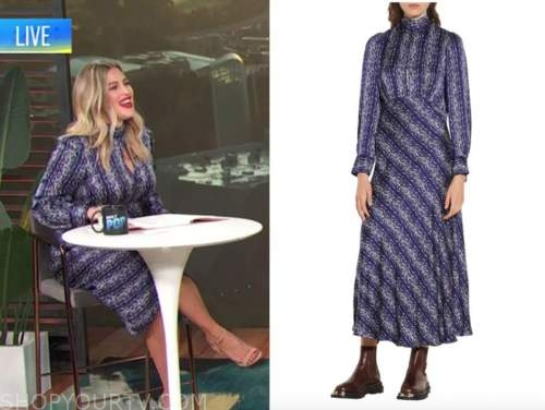 carissa culiner, E! news, blue printed keyhole midi dress