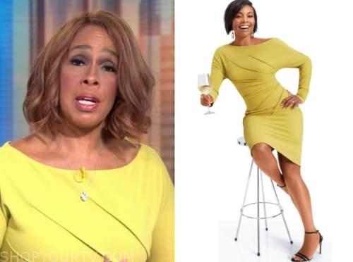 gayle king, yellow pleated dress, cbs this morning