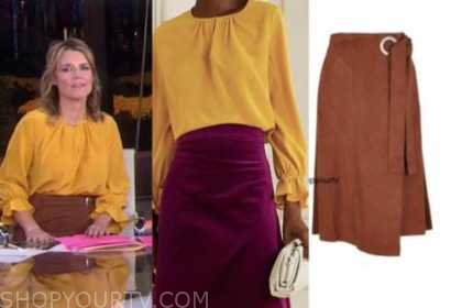 savannah guthrie, yellow blouse, brown suede skirt, the today show