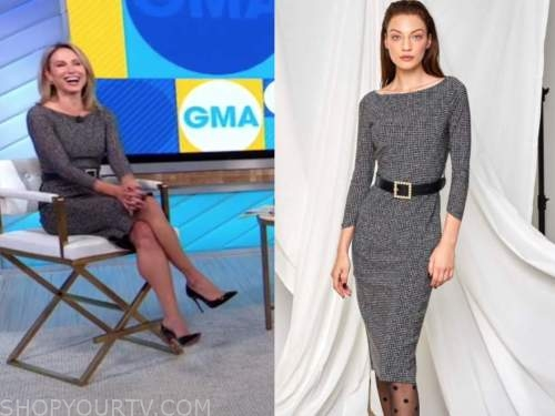 good morning america, amy robach, houndstooth boatneck sheath dress