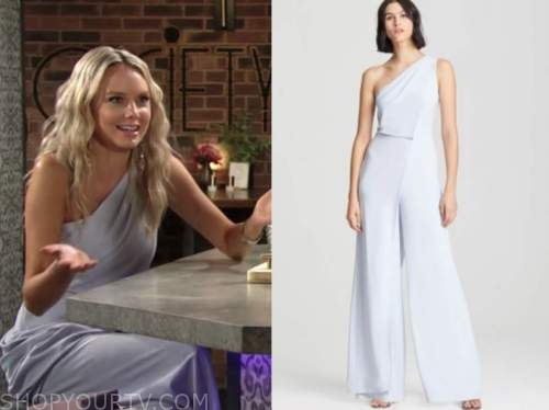 abby newman, melissa ordway, the young and the restless, blue one-shoulder drape jumpsuit