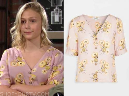 faith newman, alyvia alyn lind, the young and the restless, pink floral top