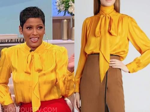 tamron hall, tamron hall show, yellow silk tie neck blouse