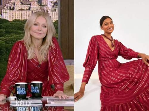 kelly ripa, live with kelly and ryan, red metallic stripe midi dress