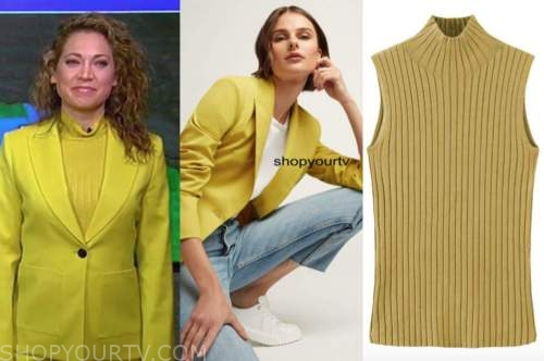 ginger zee, good morning america, yellow blazer and yellow knit mock neck top