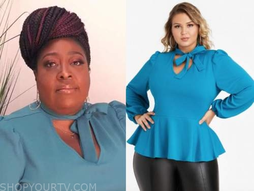 loni love, the real, blue tie neck peplum top