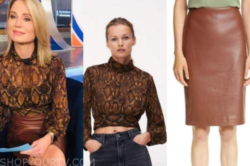 amy robach, good morning america, brown snakeskin top, brown leather pencil skirt
