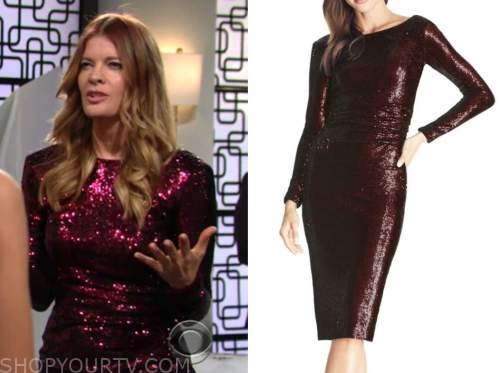 the young and the restless, phyllis newman, michelle stafford, red sequin dress