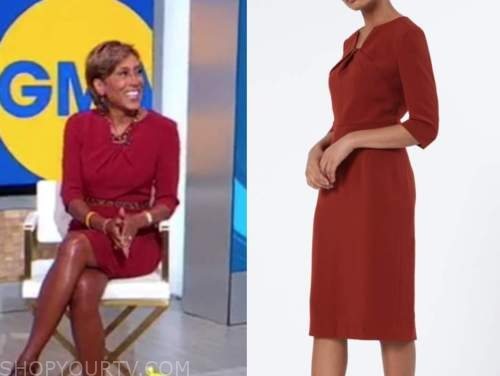 good morning america, robin roberts, red sheath dress
