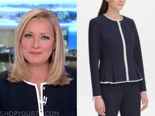 sandra smith, navy blue contrast trim jacket, america's newsroom