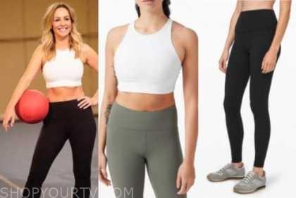 the bachelorette, clare crawley, black leggings, white sports bra