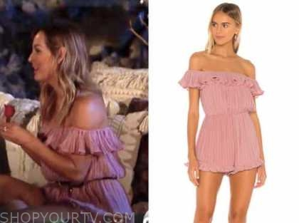 clare crawley, the bachelorette, pink off-the-shoulder ruffle romper