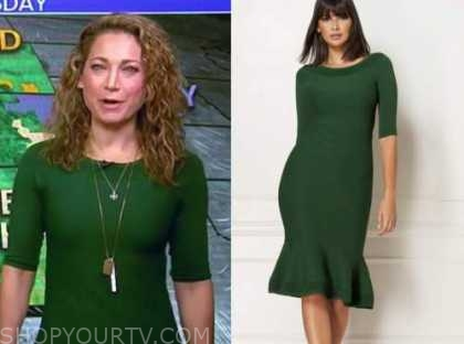 ginger zee, good morning america, green dress