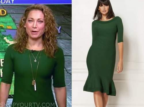 ginger zee, good morning america, green dress