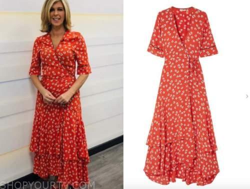 kate garraway, good morning britain, red floral wrap dress