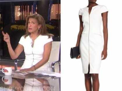 hoda kotb, the today show, white zip-front dress