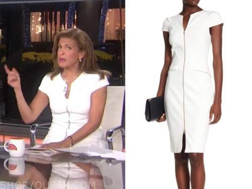 hoda kotb, the today show, white zip-front dress