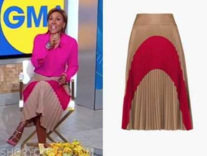 robin roberts, good morning america, tan and pink pleated skirt
