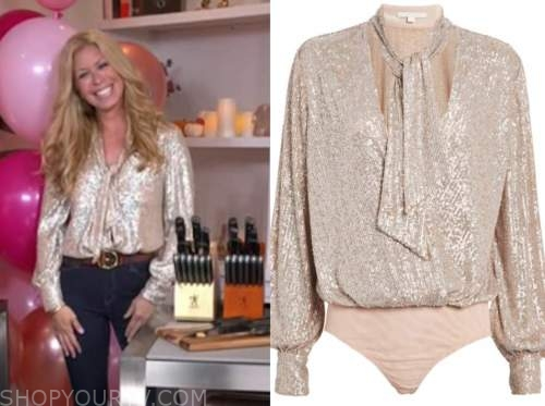 jill martin, good morning america, gold sequin tie neck blouse