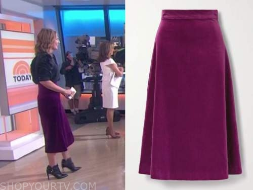 savannah guthrie, purple velvet midi skirt, the today show