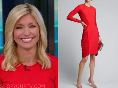 ainsley earhardt, fox and friends, red ruched dress