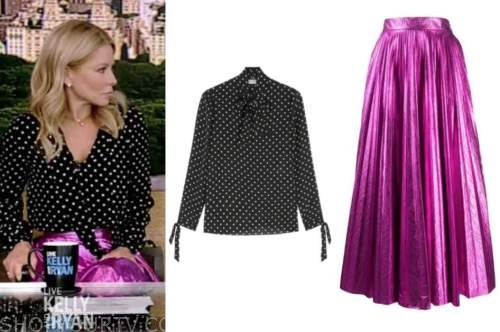 kelly ripa, live with kelly and ryan, black and white dot top, pink metallic pleated skirt