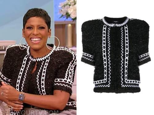 tamron hall, tamron hall show, black tweed short sleeve jacket