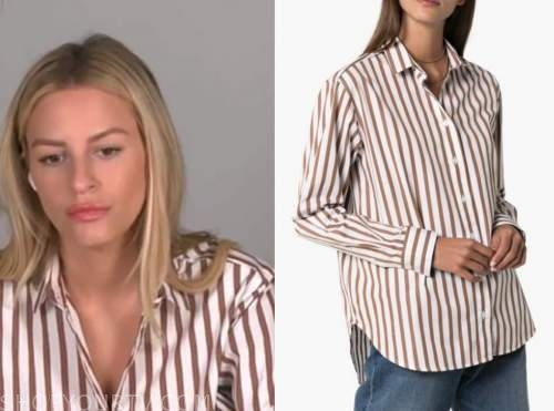 morgan stewart, E! news, brown and white striped shirt
