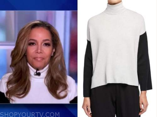 sunny hostin, the view, colorblock turtleneck sweater