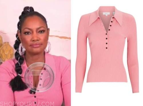 garcelle beauvais, the real, pink knit polo top