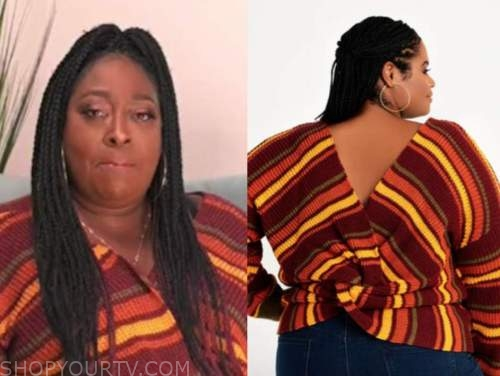 loni love, the real, orange and yellow striped sweater