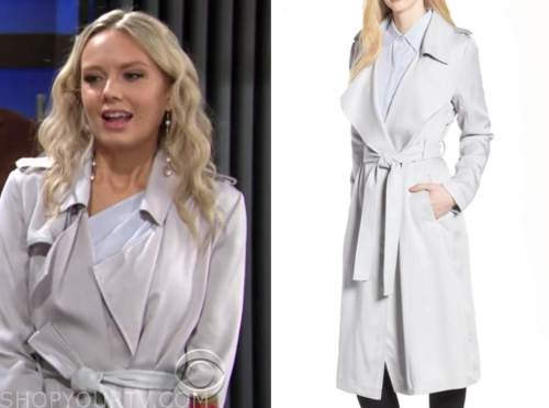 abby newman, melissa ordway, the young and the restless, silver trench coat