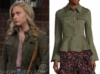 faith newman, alyvia alyn lind, green military peplum jacket, the young and the restless
