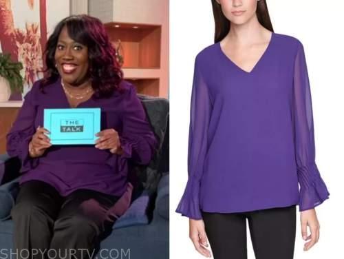 sheryl underwood, the talk, purple v-neck blouse